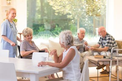seniors spending free time in bright living room