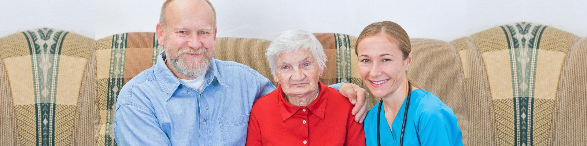 senior couple and a nurse